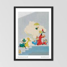 Moomin poster - The Aurora Hospital mural by Tove Jansson exclusively from The Official Moomin Shop! Available in two sizes: 70 x 50 cm Moomin Shop, Rainbow House, Tove Jansson, Childrens Hospital, Little My, Aurora, Kids Rugs, Frame, Poster