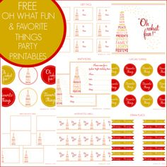 "Free ""Oh What Fun"" and Favorite Things Holiday Party Printables from Printabelle"