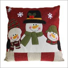 Snowman Family Decor Cushion Cover Size: 40 x 40 cm, with festive felt and embroidery details. Each cushion cover comes with a cotton insert that can be filled and used as inner. Product Code Price: plus p&p Christmas Cushion Covers, Christmas Cushions, Christmas Pillow, Christmas Snowman, Christmas Crafts, Christmas Ideas, Christmas Quilting, Christmas Stockings, Childrens Cushions