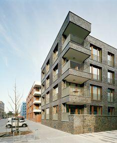 Modern Residential Architecture, Brick Architecture, Facade Design, Exterior Design, Brick Facade, Building Facade, Balcony Design, House, Balconies