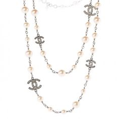 CHANEL Crystal Pearl CC Long Necklace Silver #mariskelately #luxliving #luxuryshopping #onlinestore #style #uniquestyle #fashion #fashionistas #fashionphile #jewlry #luxuryliving #luxuryjewelry #makeastatement #refinedlife #chanel Long Silver Necklace, Pearl Necklace, Luxury Jewelry, Chanel, Necklaces, Pearls, Crystals, How To Make, Style