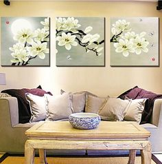 Art Painting Butterfly Magnolia Flowers Oil Canvas Wall Printing 3 PCS No Frame #Unbranded #Modernism
