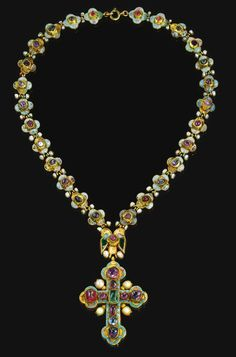A jewelled and enamelled gold cross pendant and chain, Georgian, late century Sotheby's Renaissance Jewelry, Ancient Jewelry, Antique Jewelry, Vintage Jewelry, Enamel Jewelry, Jewellery, Gold Jewelry, Cross Jewelry, Cross Necklaces