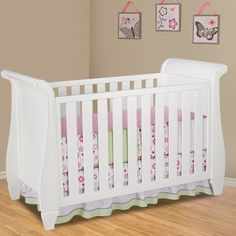 Simmons Hutton Sleigh Crib Fixed Side Convertible Crib in White Ambiance Baby Jane, Convertible Crib, Baby Furniture, Baby Cribs, New Baby Products, Home And Family, Nursery, Children, Bed