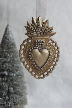 Ex voto sacred heart ornament christmas ornament ex voto ornament sacred heart ornament holiday ornament from My Sweet Maison Sign Of The Cross, I Love Heart, Fire Heart, Heart Ornament, Mexican Folk Art, Triptych, Sacred Heart, Heart Art, Heart Jewelry