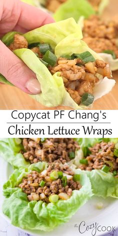 Copycat P. Chang's Chicken Lettuce Wraps Copycat P. Chang's Chicken Lettuce Wraps,Food These Copycat Chicken Lettuce Wraps from PF Changs are so easy to make in just 20 minutes! They make the best healthy lunch or dinner! Avocado Chicken, Bacon Avocado, Mango Chicken, Healthy Chicken Lettuce Wraps, Pf Changs Chicken Lettuce Wraps Recipe, Shrimp Lettuce Wraps, Pineapple Chicken, Cilantro Lime Chicken, Vegetarian Recipes