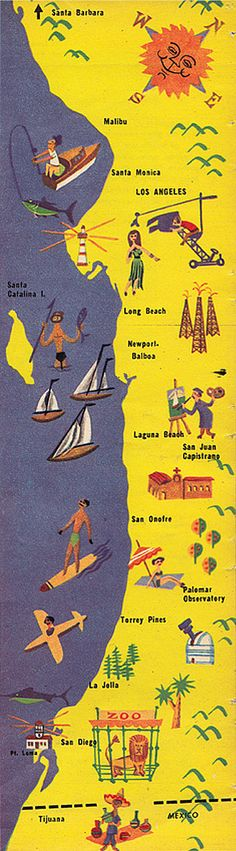 Illustration by Ernst Melchior for the Los Angeles Times Midwinter supplement, published January 2, 1957. Doesn't spear fishing off the Catalina coast sound fun? Whee!