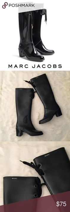 """Marc Jacobs Heeled Rain Boots Marc Jacobs Heeled Tie Rain Boots $198 Sold Out. Black 6M Low 2"""" rubber heel. Great for rain or cute anytime  Excellent condition *a few unnoticeable scuffs Marc Jacobs Shoes Winter & Rain Boots"""