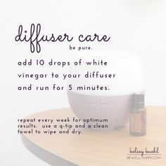 My Favorite Essential Oil Diffuser Blends and Recipes (Plus Free Download) - Learn how to clean your diffuser with white vinegar.