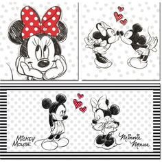 Disney Mickey Mouse 3 Piece Graphic Print Set on Canvas Mickey Mouse & Friends - Size: Mini (Under High) Mickey Mouse And Friends, Disney Mickey Mouse, Walt Disney, Minnie Mouse, Punk Disney, Disney Fun, Tatoo Mickey, Mimi Y Mickey, Mickey Mouse Wallpaper