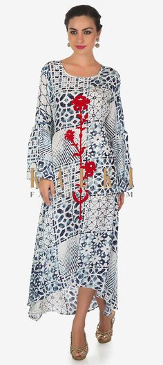 Buy Online from the link below. We ship worldwide (Free Shipping over US$100)  Click Anywhere to Tag White and blue printed kurti with embossed resham work in floral motif only on Kalki White and blue kurti featuring in satin crepe with front short and back long.Its embellished in resham embroidery in floral motif.