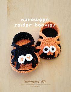 Halloween Spider Sandals Crochet PATTERN Kittying Crochet Pattern by kittying.com from mulu.us  This pattern includes sizes for 0 – 12 months.