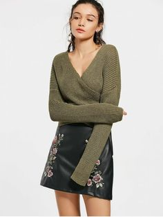 Drop Shoulder Plain Wrap Sweater - ARMY GREEN ONE SIZE