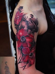 Red-Flowers-Half-Sleeve-Tattoos-for-Women