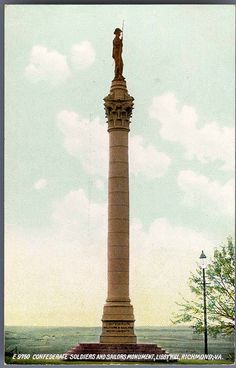 https://flic.kr/p/qGQZty | Confederate Soldiers and Sailors Monument, Libby Hill, Richmond, Va. |  Date Postmarked: Not postmarked.  Rights: This item is in the public domain. Acknowledgement of the Virginia Commonwealth University Libraries as a source is requested.  Reference URL: dig.library.vcu.edu/u?/postcard,259  Collection: Rarely Seen Richmond: Early twentieth century Richmond as seen through vintage postcards