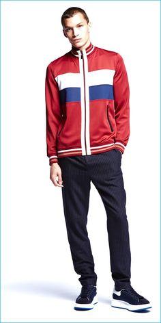 Louis Mayhew wears Laboratory burgundy retro zip track jacket.