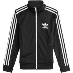 Adidas Originals Zipped Jacket ($150) ❤ liked on Polyvore featuring outerwear, jackets, multicolor, black and white jacket, slim fit jackets, multi colored jacket, black white jacket and adidas originals