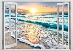 Details about window ocean sunset shining Wall Art Sticker mural Decal Decor seascape - Art ideas 3d Wall Decals, Removable Wall Stickers, Wall Murals, Wall Art, Vinyl Decals, Wall Decor, Seascape Art, Ocean Sunset, Window Wall