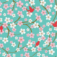 Micro Fleece Fabric- Cardinals And Cherry Blossoms