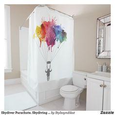 Skydiver Parachute. Skydiving Parachuting. Shower Curtain