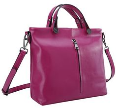 Heshe Fashion Women 100% Genuine Leather Top-handle Tote Cross Body Shoulder Bag Messenger Purse for Lady Simple Style (Rose) $59.99