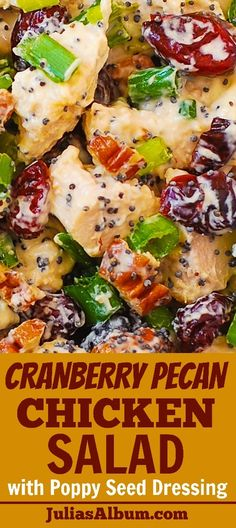 Cranberry Pecan Chicken Salad with Poppy Seed Dressing - also great for leftover. - Cranberry Pecan Chicken Salad with Poppy Seed Dressing – also great for leftover Thanksgiving tur - Gluten Free Thanksgiving, Thanksgiving Recipes, Thanksgiving Turkey, Thanksgiving Salad, Pecan Chicken Salads, Chicken Salad Recipes, Recipe Chicken, Chicken Salad Wraps, Cold Chicken Recipes