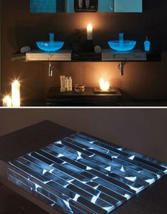 Transparent Glowing Bathroom Counters ----    The soft illumination given off by these glowing countertops makes night lights in the bathroom a thing of the past. Italian company Masto Fiore hand-crafts these beautiful countertops from natural alabaster stone with integrated illumination. Pair them with translucent glass sink vessels and you've got quite a magical effect.