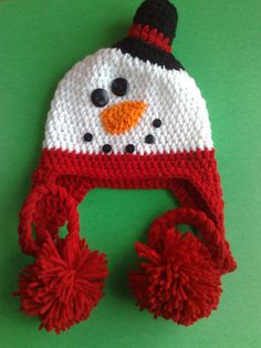 Envío gratis, Adorable red Snowman sombrero del bebé hechos a mano del oído niños Flap Cap gorros niño sombreros del ganchillo(China (Mainland))