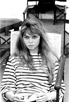 We never met a stripe we didn't love. Brigitte Bardot, Saint-Tropez, 1958.