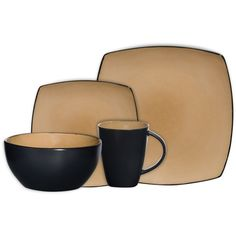 32 Pc Dinnerware Stoneware Square Kitchen Dishes Plates Salad Bowls Mugs TAUPE #GOInc