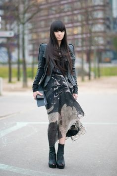Kozue Akimoto after Rick Owens show, Paris Fashion Week
