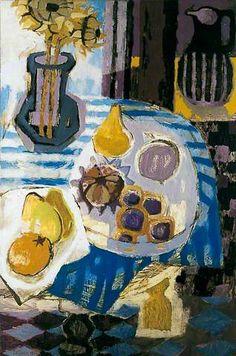 유 Still Life Brushstrokes 유 Nature Morte Paintings - Blue-Striped Tablecloth by Mary Fedden Painting Still Life, Still Life Art, Colorful Paintings, Your Paintings, Alexander Calder, Art Uk, Gustav Klimt, Art And Illustration, Art Plastique