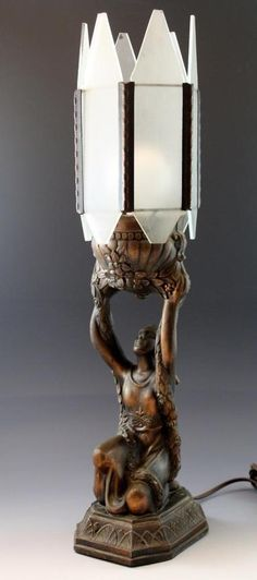 C1920s Bronze Patina Figural Nude Woman Art Deco Lamp w/ Frosted Glass Shades NR #ArtDeco