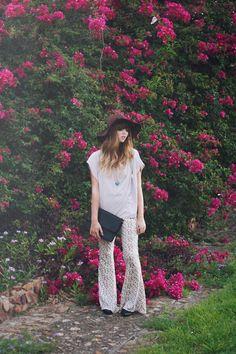 Shop this look on Kaleidoscope (pants, shirt, hat, clutch)  http://kalei.do/WfxwUMemMIWWHBaw