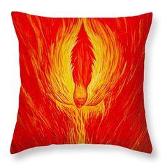 """Angel Fire Throw Pillow 14"""" x 14"""""""