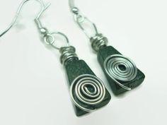 Wire Wrapped Serpentine Stone Earrings - Hypoallergenic #handmadeearrings #serpentine #blackandsilver