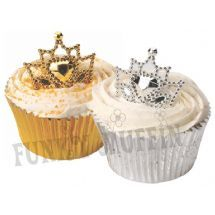 Jubilee - Gold & Silver Crown Cake / Cupcake decorations
