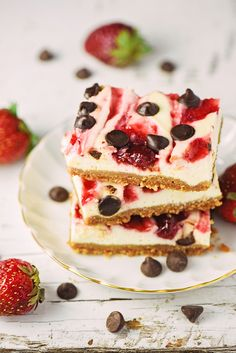 Now you can have your cheesecake and eat it too. These Skinny Dark Chocolate Strawberry Cheesecake Bars are just as delicious and creamy as the real thing, but lightened up with Greek Yogurt.