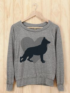 German Shepherd Heart Slouchy Pullover, Dog Shirt, Dog Breed Gift, Dog Art, Dog Lover, Pet Lover, Dog Mom