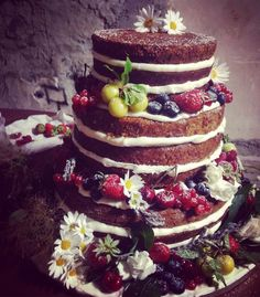 Carrot walnut naked wedding cake with cream cheese frosting. Made by Sara Levi in Rome, Italy for Frankie & Lucy's wedding at Casale di Polline, Lake Bracciano, 28 May 2016