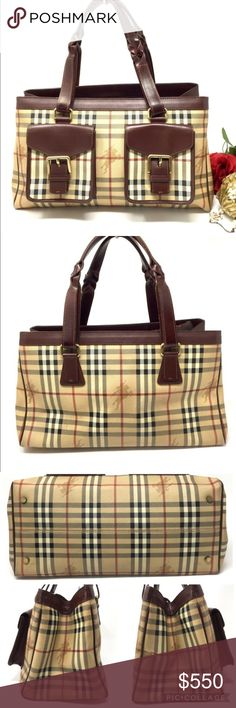 Auth BURBERRY Nova Check Large Tote Satchel Adorable bb75c0e7335a9