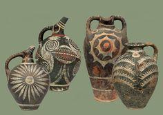 Kamares ware amphora and ewers. Phaistos 1800-1700 BC.