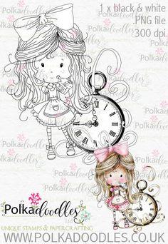 Winnie Wonderland Time will Tell - Printable Digital stamp download - Polkadoodles Ltd