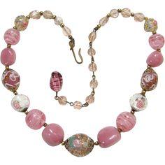 Vintage Antique Venetian Murano Lampwork Foil Wedding Cake Pink Art Glass Bead Choker Necklace