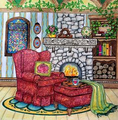 "Colorist Jackie Zoost From Debbie Macomber's "" Come Home to Color "". Done with Prismacolor pencils."