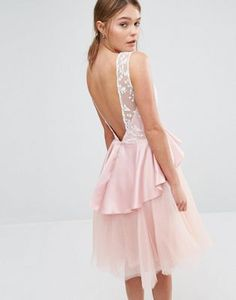 Chi Chi London Tulle Midi Dress with Frill Waist