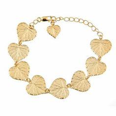 Greensleeves Bracelet. Leaf bracelet in 14k yellow gold plate. On sale for $40