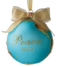 2012 Peace on Earth White-studded Christmas Ornament - Christmas Decorations traditional holiday decorations
