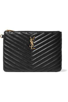 f3b57a59e8d5 Saint Laurent - Monogramme quilted textured-leather pouch. Saint Laurent  PurseYves ...