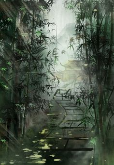 Path between bamboo with temple at the end of the road illustration Fantasy Landscape, Landscape Art, Japon Illustration, Art Asiatique, Art Japonais, Anime Scenery, Art Graphique, Art Background, Beautiful Artwork